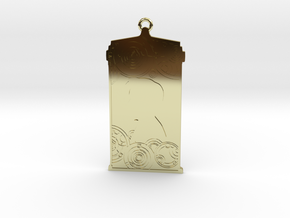 TARDIS Pendant with Eleven in 18k Gold Plated Brass