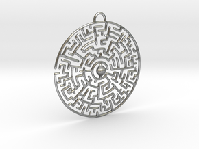 Circular Labyrinth Pendant in Natural Silver