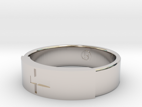 Ring with jesus in Rhodium Plated Brass