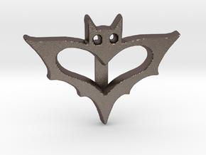 Bat Ribbon Charm in Polished Bronzed Silver Steel