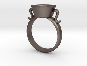 New Agape Ring, Size 8 in Polished Bronzed Silver Steel