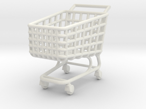 Miniature Shopping Trolley (Heroic scale) in White Natural Versatile Plastic