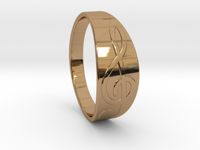 Size 11 M G-Clef Ring  in Polished Brass