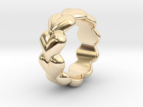 Heart Ring 17 - Italian Size 17 in 14k Gold Plated Brass