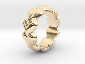 Heart Ring 21 - Italian Size 21 in 14k Gold Plated Brass