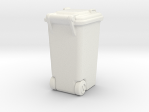 Wheelie Bin in White Natural Versatile Plastic
