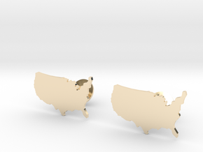 USA Cufflinks in 14k Gold Plated Brass