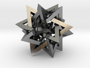 Tetrahedron 5 Compound in Polished Silver