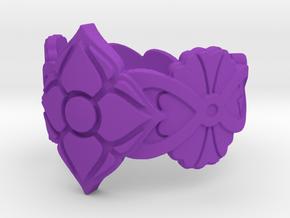 Floral Ring Size 7 in Purple Processed Versatile Plastic