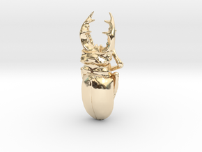 Large Silver Stag Beetle in 14k Gold Plated Brass