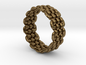 Wicker Pattern Ring Size 10 in Polished Bronze