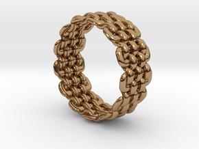 Wicker Pattern Ring Size 10 in Polished Brass