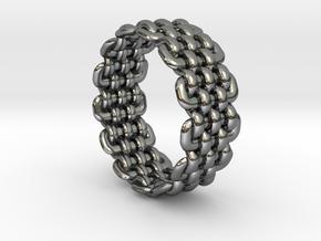 Wicker Pattern Ring Size 5 in Fine Detail Polished Silver