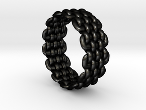 Wicker Pattern Ring Size 5 in Matte Black Steel