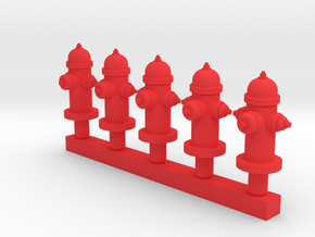 Fire Hydrant - Qty (5) HO 1:87 scale in Red Strong & Flexible Polished