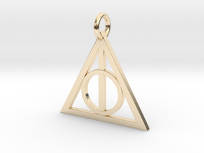 Deathly Hallows Triangle Pendant in 14K Yellow Gold