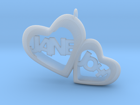 Two heart together in Smooth Fine Detail Plastic