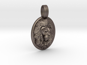 Roaring Lion Pendant in Polished Bronzed Silver Steel