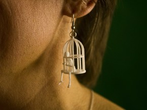 Gibbet Pendant/Earring in White Natural Versatile Plastic