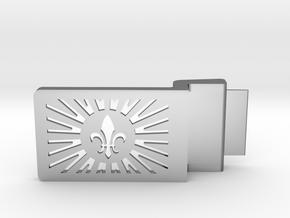 Fleur De Lis Belt Buckle in Fine Detail Polished Silver