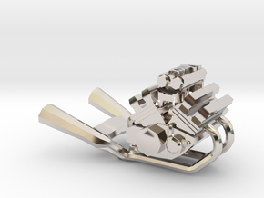 Yamaha Vmax engine miniature in Rhodium Plated Brass