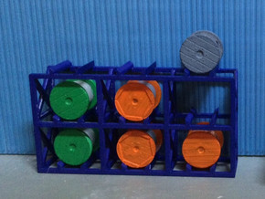 N Scale Cable Reel Storage + 6 reels in Smooth Fine Detail Plastic