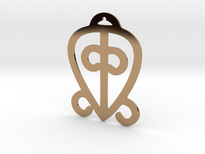 Adinkra Collection-Power Of Love Pendant (metals) in Polished Brass