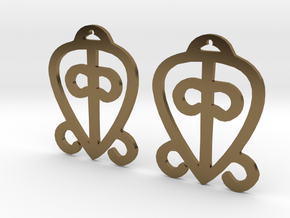 Adinkra Collection-Power Of Love Earrings (metals) in Polished Bronze