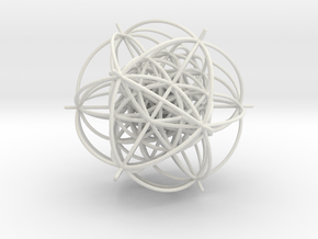 600-Cell, Stereographic projection,Vertex centered in White Natural Versatile Plastic