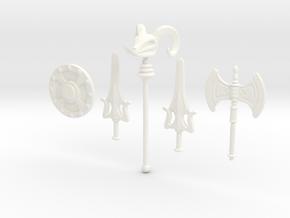 MOTU Weapons Bundle for Minimates in White Processed Versatile Plastic