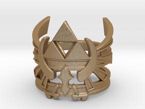 Triforce ring - Zelda - medium sizes (15 to 22) in Matte Gold Steel