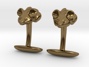 Mouse Cuff links  in Polished Bronze