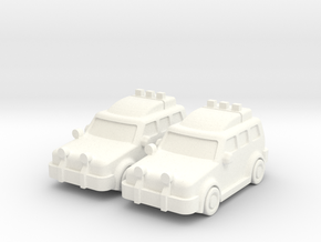 4x4 Cars (2 pcs) in White Strong & Flexible Polished