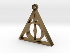 Deathly Hallows Pendant - Small - 5/8  in Polished Bronze