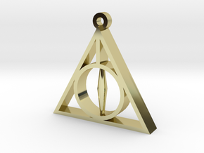 Deathly Hallows Pendant - Small - 5/8  in 18k Gold Plated Brass