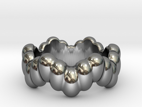 Biological Ring 18 - Italian Size 18 in Fine Detail Polished Silver
