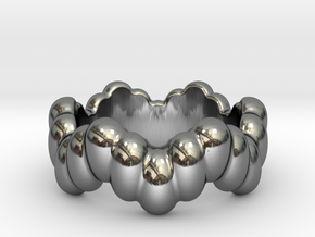 Biological Ring 25 - Italian Size 25 in Fine Detail Polished Silver