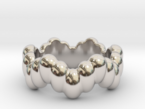 Biological Ring 30 - Italian Size 30 in Rhodium Plated Brass