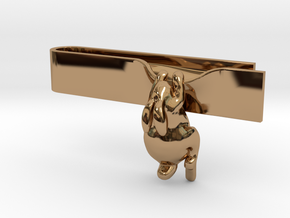 Falling Rabbit Tie Bar in Polished Brass: Small