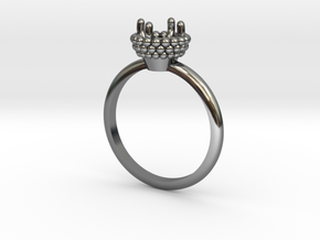 Bead Ball Mount Engagement Ring in Fine Detail Polished Silver