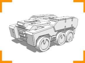 'Broadside' Armored Truck 6mm in White Natural Versatile Plastic