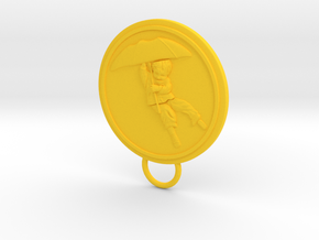Umbrella Boy Keychain in Yellow Processed Versatile Plastic