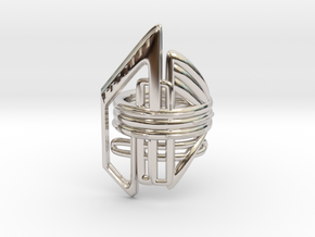 Balem's Ring2 - US-Size 5 1/2 (16.10 mm) in Rhodium Plated Brass