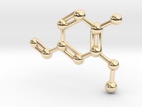 Vanillin Molecule Big (Vanilla) Necklace Pendant in 14k Gold Plated Brass