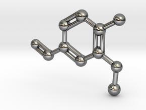 Vanillin Molecule Big (Vanilla) Necklace Pendant in Fine Detail Polished Silver