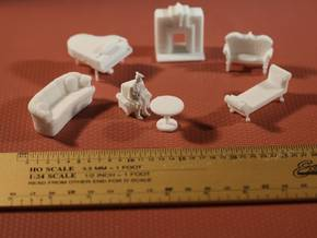 Living Room Stuff Collection 1 HO Scale in White Strong & Flexible