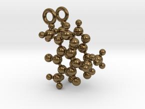 Caffeine 3D molecule for earrings in Natural Bronze