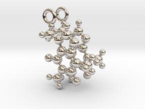 Caffeine 3D molecule for earrings in Rhodium Plated Brass