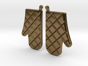 Oven Mitt Earrings in Polished Bronze
