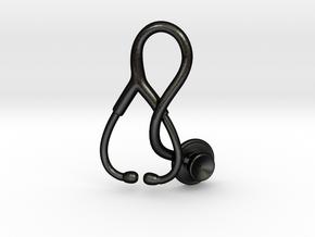 Stethoscope Pendant in Matte Black Steel